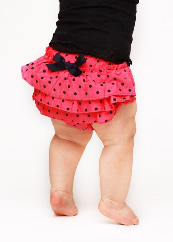 Ruffled Hot Pink & Black Polka Dot Bloomers