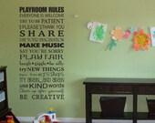 Playroom rules vinyl wall decal art
