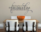 Family like branches on a tree, roots remain as one  vinyl  wall  decal