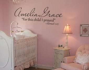 Child's name personalized monogram with scripture vinyl wall decal