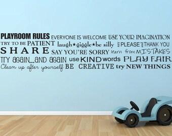 Playroom rules horizontal toy room words vinyl wall decal art