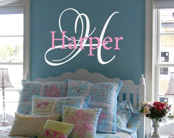 Name and initial monogram decal vinyl wall decal