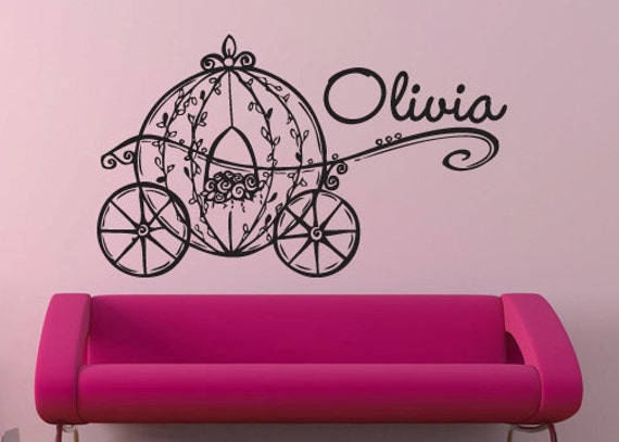 Princess carriage with child's name monogram vinyl wall  decal