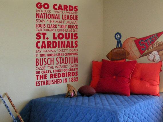 Go Cards, St. Louis Cardinals Baseball - Sports Subway Art Vinyl Wall Decal
