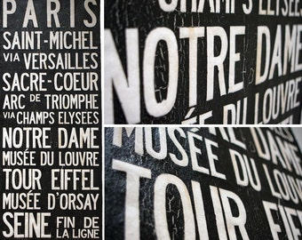 "PARIS ""Vive La France"" Bus Scroll, Subway Art - Custom hand painted and distressed on high quality artist canvas, ready to hang 22"" x 59"""