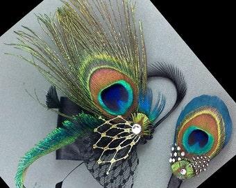 Feather Bridal Hair Clip, Peacock Wedding Fascinator, Bridal Headpiece, Men Buttonhole, Boho Wedding Hair Clip, Bridesmaid Gift SIENNA PLUTO