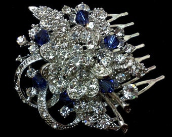 Something Blue Bridesmaid Hair Comb, Bridal Hair Jewelry, Swarovski Crystal Hair Comb, Flower Hair Comb, Bridesmaid Gift for Her, BOUQUET