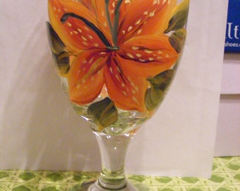 Tiger Lily hand painted wine glass