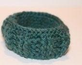 Teal Jade Crocheted Bangle Detailed Bracelet Blue-Green Caddie