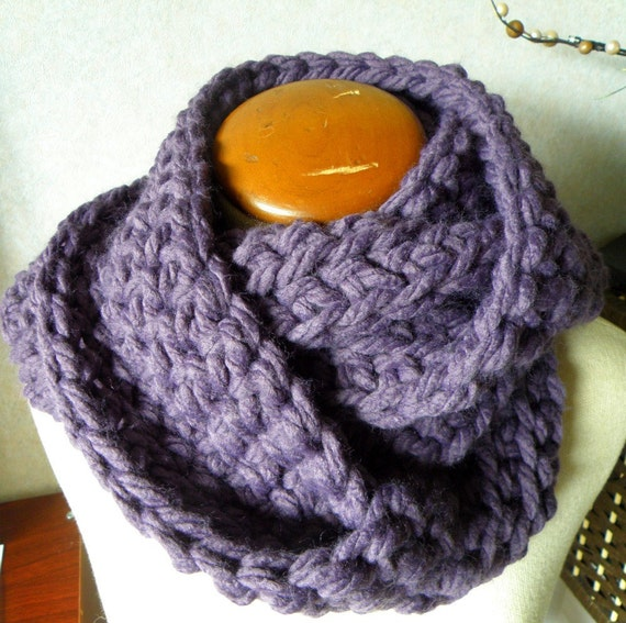Chunky Hand-Crocheted Grape Cowl FREE SHIPPING in USA