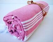 Traditional Handwoven Cotton Turkish Bath Towel - Peshtemal / Pink and White