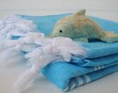 TURKISH TOWELS - PESHTEMAL - Turquoise & White