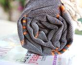 TURKISH TOWEL - Peshtemal - Black and Orange