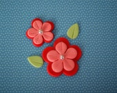 Fondant Flowers and Leaves for Decorating Cakes, Cupcakes, Cookies or Mini-Cake for Birthday, Engagement, Baby Shower, or Wedding Parties