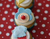 Circus Fondant Clown and Cotton Candy Toppers for Cupcakes, Cookies, Brownies or Cakes