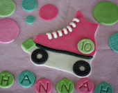 Fondant Roller Skate Cake Topper, with Polka Dots, Name and Age Decorations for a Special Roller Skating Themed Birthday Cake
