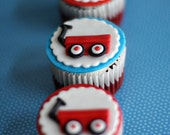 Fondant Radio Flyer Red Wagon and Age Toppers Perfect for Wagon Themed Birthday and Baby Shower Cupcakes or Cookies