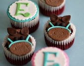 Fondant Horse and Initial Monogram Toppers for Cupcakes, Cookies or other Treats
