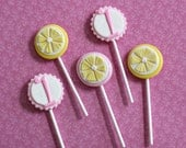 Pink Lemonade Fondant Monogram or Birthdate Toppers on a Stick for Summertime Cupcakes
