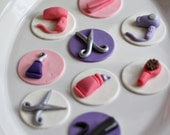Fondant Hair Stylist Scissors, Brushes, Flat Iron and Hair Dryer Toppers for Decorating Cupcakes, Brownies or Cookies