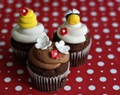 Fondant Bee, Flower and Bee Hive Cupcake, Cookie or Mini-Cake Decorations for Birthday or Baby Shower Celebrations