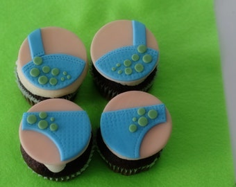 Bra and Pantie Fondant Cupcake, Cookie or Mini-Cake Toppers Perfect for a Funky Bridal or Bachelorette Party
