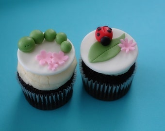 Fondant Ladybug, Leaves, and Caterpillar Toppers for Spring Cupcakes, Cookies or Mini-Cakes
