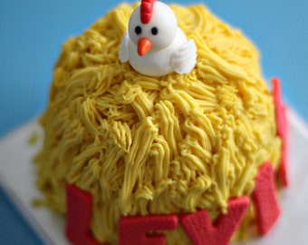 Fondant Chicken, Name and Age Decorations perfect for a Farm Animal Themed Smash or Birthday Cake