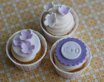 Fondant Monograms Initials and Flower Toppers for Decorating Engagement, Shower or Wedding Cupcakes