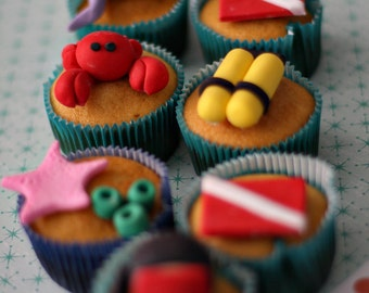 Scuba Under the Sea Creatures Fondant Cake or Cupcake Decorations for A Special Scuba Lover