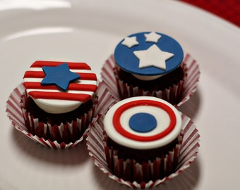Fondant 4th of July Stars and Stripes Patriotic Toppers for Decorating Cupcakes, Cookies or Brownies for an Independence Day