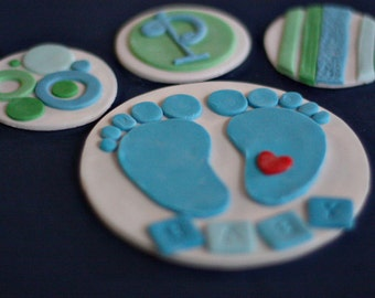 Fondant Baby Feet Cake Topper and Coordinating Polka Dot, Stripe and Monogram Toppers for Decorating a Baby Shower Cake and Cupcakes