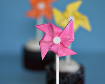Fondant Pinwheels on a Stick Perfect for Summertime Cupcakes or Mini-Cakes
