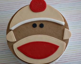 Sock Monkey Fondant Face Girl or Boy and Bananas for Decorating a Smash Cake or Birthday Cake