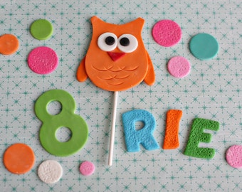 Owl, Polka Dot, and Birthday Kid's Name and Age Fondant Decorations for a Special Birthday Cake