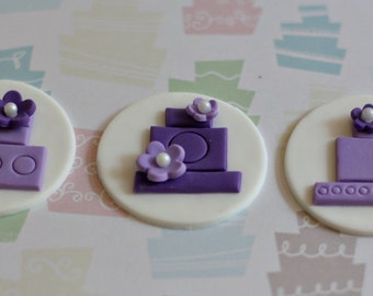 Fondant Wedding Cake and Flower Toppers for Cupcakes, Cookies or Other Treats for Engagement or Wedding Parties