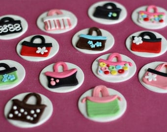 Purse Fondant Toppers for Cupcakes, Brownies or other Treats for the Fashionista in your Life