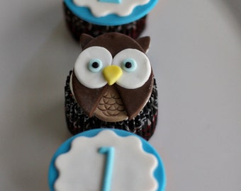 Fondant Owl and Age or Monogram Toppers for Cupcakes, Cookies or other Treats