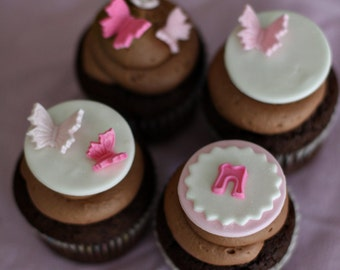 Butterfly Fondant Baby Shower Toppers with Initials for Cupcakes, Cookies or Mini-Cakes