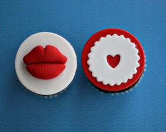 Fondant Lips and Hearts Love and Kisses Toppers for Cupcakes, Cookies or other Treats