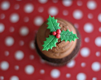 Fondant Holly Leaf and Berry Toppers for Christmas Cupcakes, Cookies, Cake Pops or Other Holiday Treats