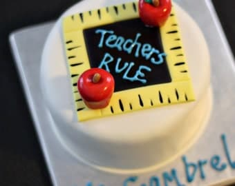 Fondant Teacher Apples and Chalkboard Cake Topper for Cakes, Pull-Apart Cupcakes, or other Treats
