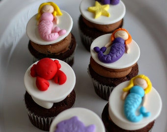 Fondant Sea, Mermaid, Fish, Crab and More Toppers for Decorating Cupcakes, Cookies or Brownies