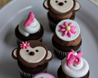 Fondant Monkey, Flowers, Bananas, Age and Initial Toppers for Decorating Cupcakes, Cookies, or other Sweet Treats
