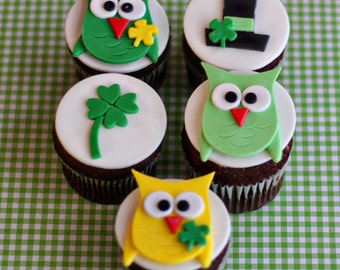 St. Patrick Owl and Shamrock Toppers for Decorating Cupcakes, Cookies or other Sweet Treats