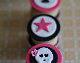 Fondant Skull, Rock Star and Age Toppers for Decorating Cupcakes, Cookies and Brownies