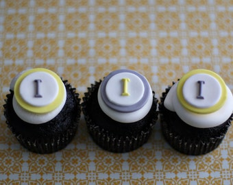 Wedding Monogram Fondant Toppers for Engagement, Wedding, Baby Shower or Birthday Cupcakes or Cookies