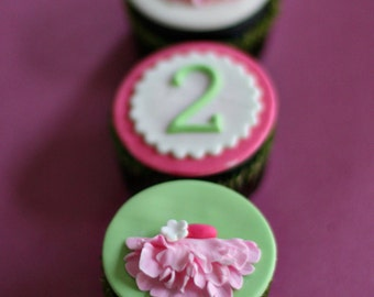 Ballerina TuTu and Age Toppers for Cupcakes, Cookies or Mini-Cakes for Birthday Parties