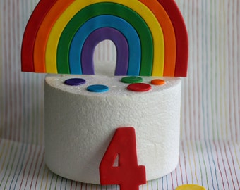 Fondant Rainbow Cake Topper, Polka Dots and Age Decorations for Decorating a Cake