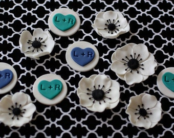 Wedding Initials and Anemone Fondant Cupcake Toppers for Engagement, Shower or Wedding Cupcakes